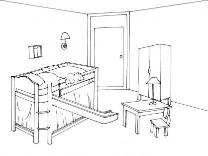 Coloriage chambre - Dessin muurschildering chambre fille ...