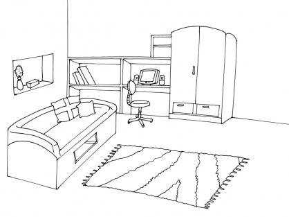 chambre coucher coloriage. Black Bedroom Furniture Sets. Home Design Ideas