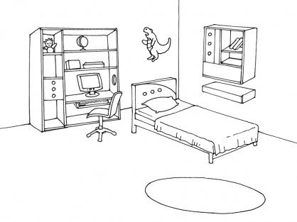 coloriage chambre 6 coloriage chambre coloriage maison - Dessin De Chambre