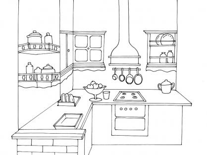 Coloriage cuisine 12 coloriage cuisine coloriage maison - Coloriage cuisine ...