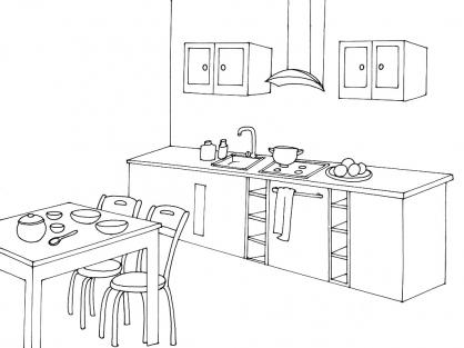 Cuisine coloriage for Cuisine dessin