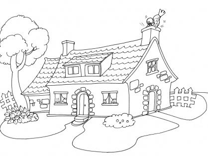 Dessin d une maison meilleure inspiration pour votre design de maison for Image de jardin a imprimer