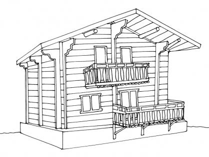 Coloriage maisonnette - Dessin de maison en bois ...