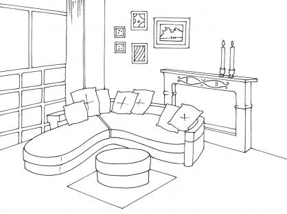 Coloriage salon 4 coloriage salon coloriage maison - Saloon dessin ...