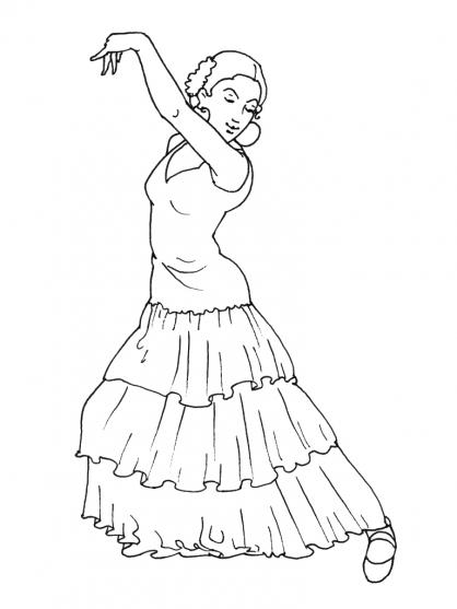 Comment dessiner une danseuse de flamenco - Coloriage espagnol ...
