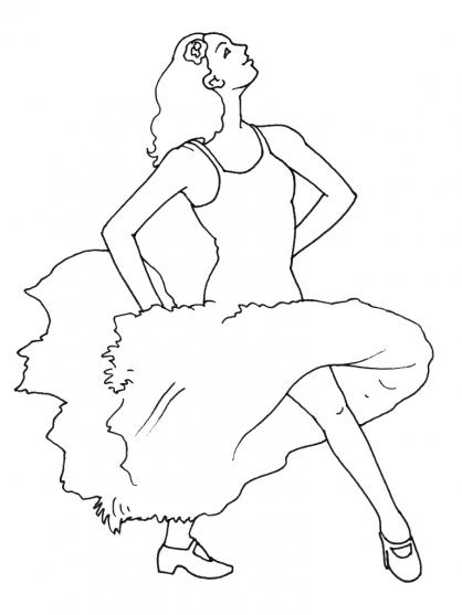 Coloriage danseuse 6 coloriage danseuses coloriage metiers - Coloriage espagnol ...