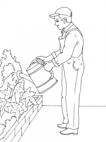 Coloriage Jardinier 1