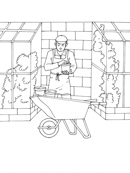 Coloriage Jardinier 2