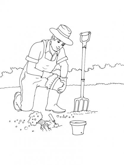 Coloriage Jardinier 4
