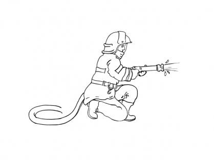 Coloriage Pompier 3