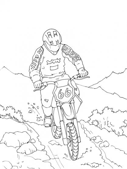Coloriage montagne 5 coloriage montagne coloriage nature - Coloriage moto cross ...