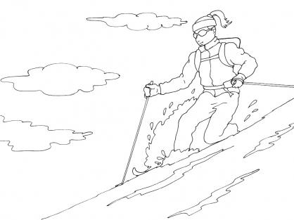 Coloriage Ski 1