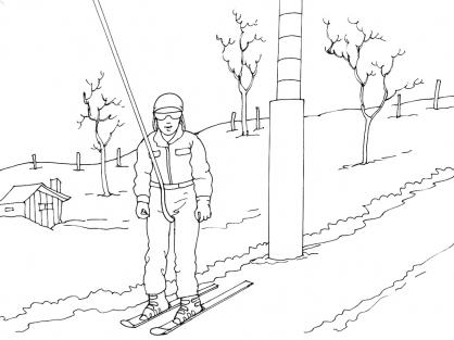 Coloriage Ski 8