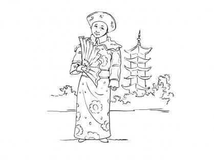 Coloriage Petite asiatique 2