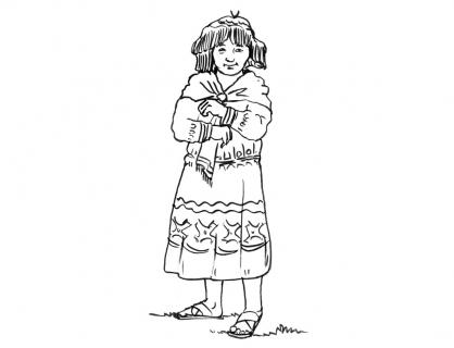 Coloriage Petite fille Inca 13
