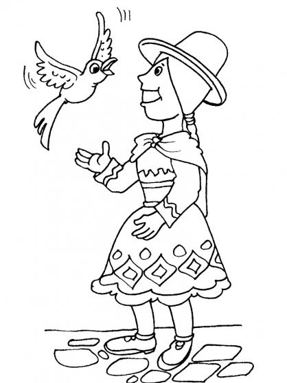 Coloriage Petite fille Inca 17