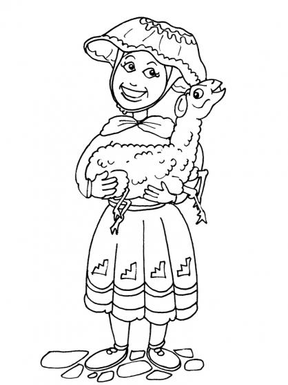 Coloriage Petite fille Inca 19