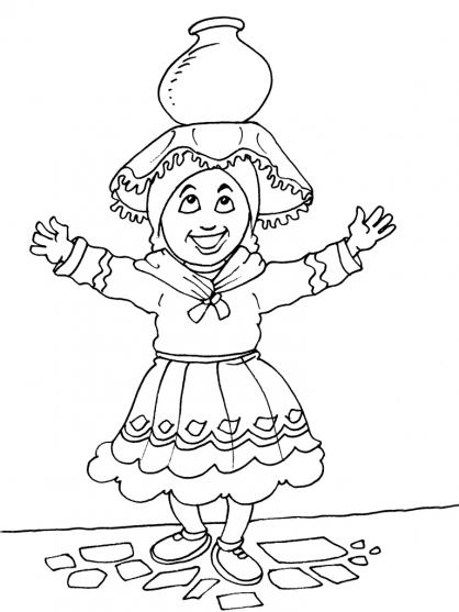 Coloriage Petite fille Inca 20