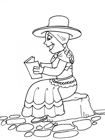 Coloriage Petite fille Inca 21