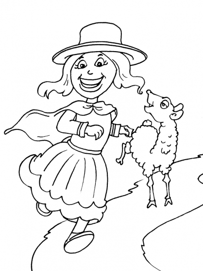 Coloriage Petite fille Inca 24