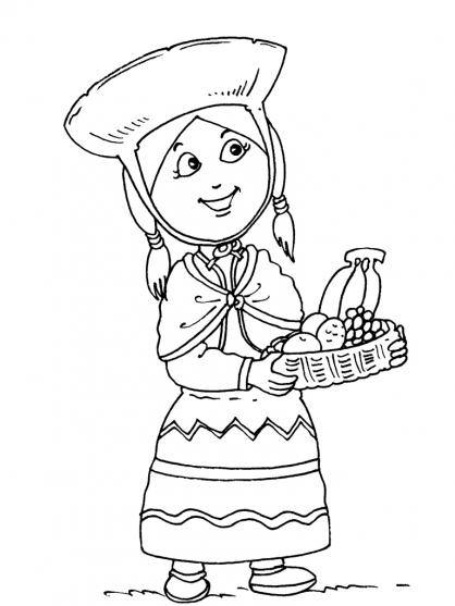 Coloriage Petite fille Inca 28