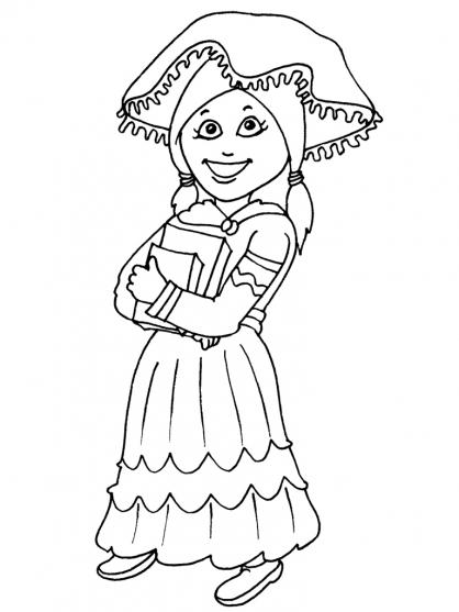 Coloriage Petite fille Inca 29