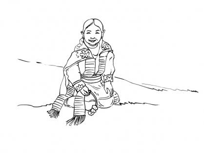 Coloriage Petite fille Inca 3