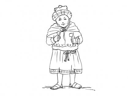Coloriage Petite fille Inca 4