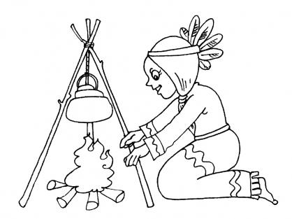 Coloriage Petite indienne 16