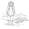 Coloriage Petite fille inuit 1