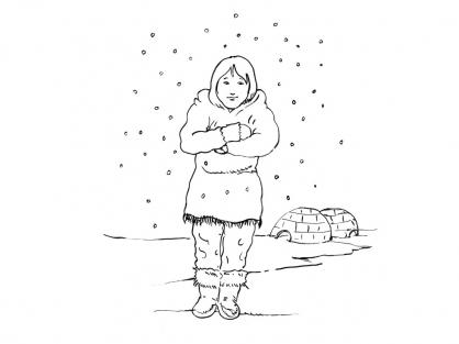 Coloriage Petite fille inuit 10