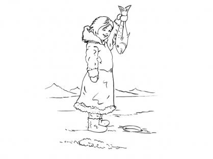 Coloriage Petite fille inuit 11