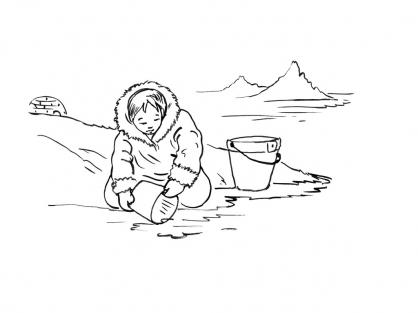 Coloriage Petite fille inuit 13
