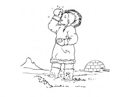 Coloriage Petite fille inuit 15