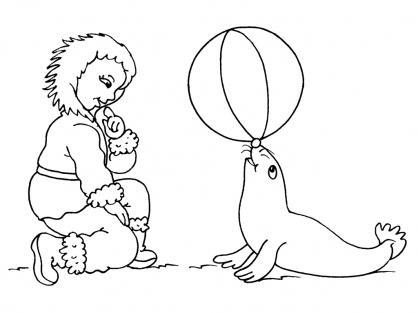 Coloriage Petite fille inuit 16