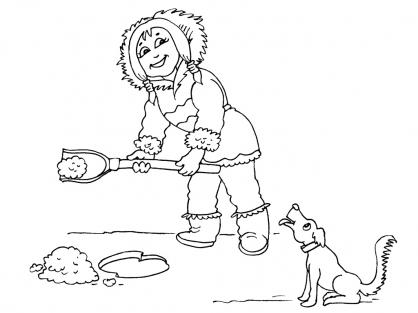 Coloriage Petite fille inuit 17
