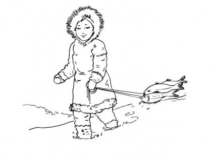Coloriage Petite fille inuit 2