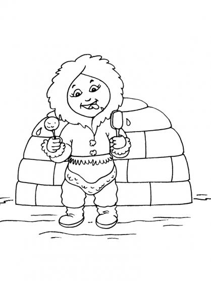 Coloriage Petite fille inuit 20