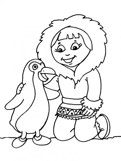 Coloriage Petite fille inuit 21