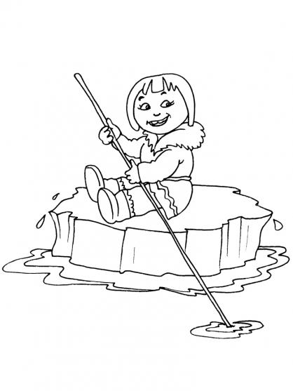 Coloriage Petite fille inuit 24