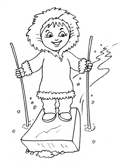 Coloriage Petite fille inuit 30