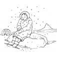 Coloriage Petite fille inuit 4