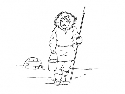 Coloriage Petite fille inuit 6