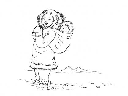 Coloriage Petite fille inuit 7