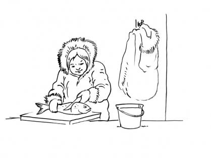 Coloriage Petite fille inuit 8
