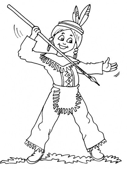 Pin dessin indien 2 on pinterest - Coloriage petit indien imprimer ...
