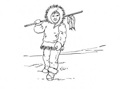 Coloriage Petit inuit 1