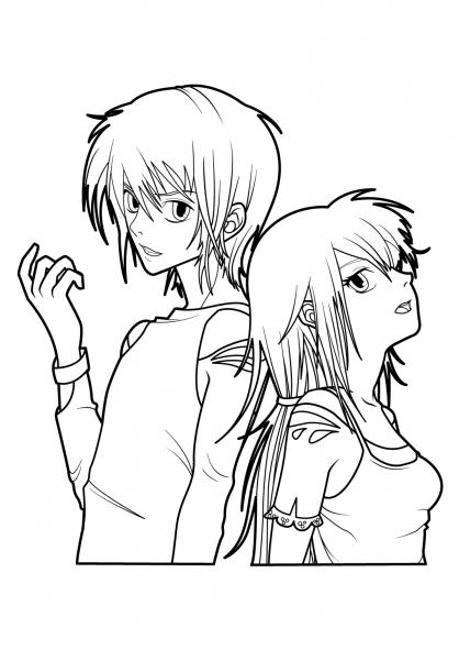 Coloriage Manga 4