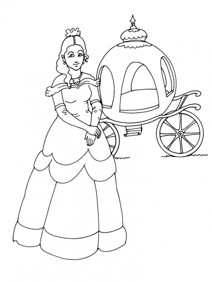 Coloriage princesse 9 coloriage princesses coloriage personnages - Coloriage carrosse ...
