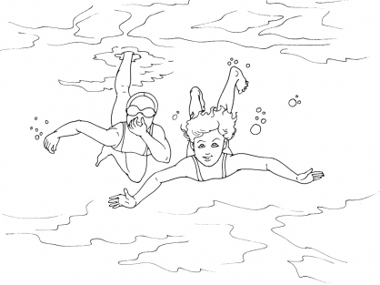 Pin coloriage piscine cours de natation nager on pinterest - Natation dessin ...